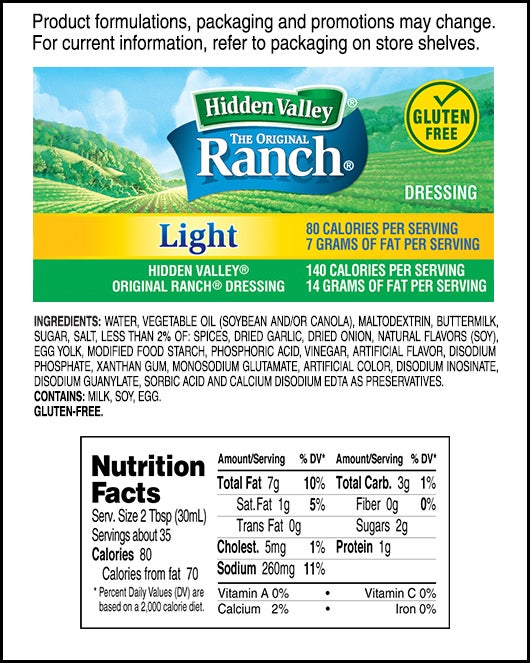 The Original Ranch<sup>&reg;</sup> Light nutritional facts