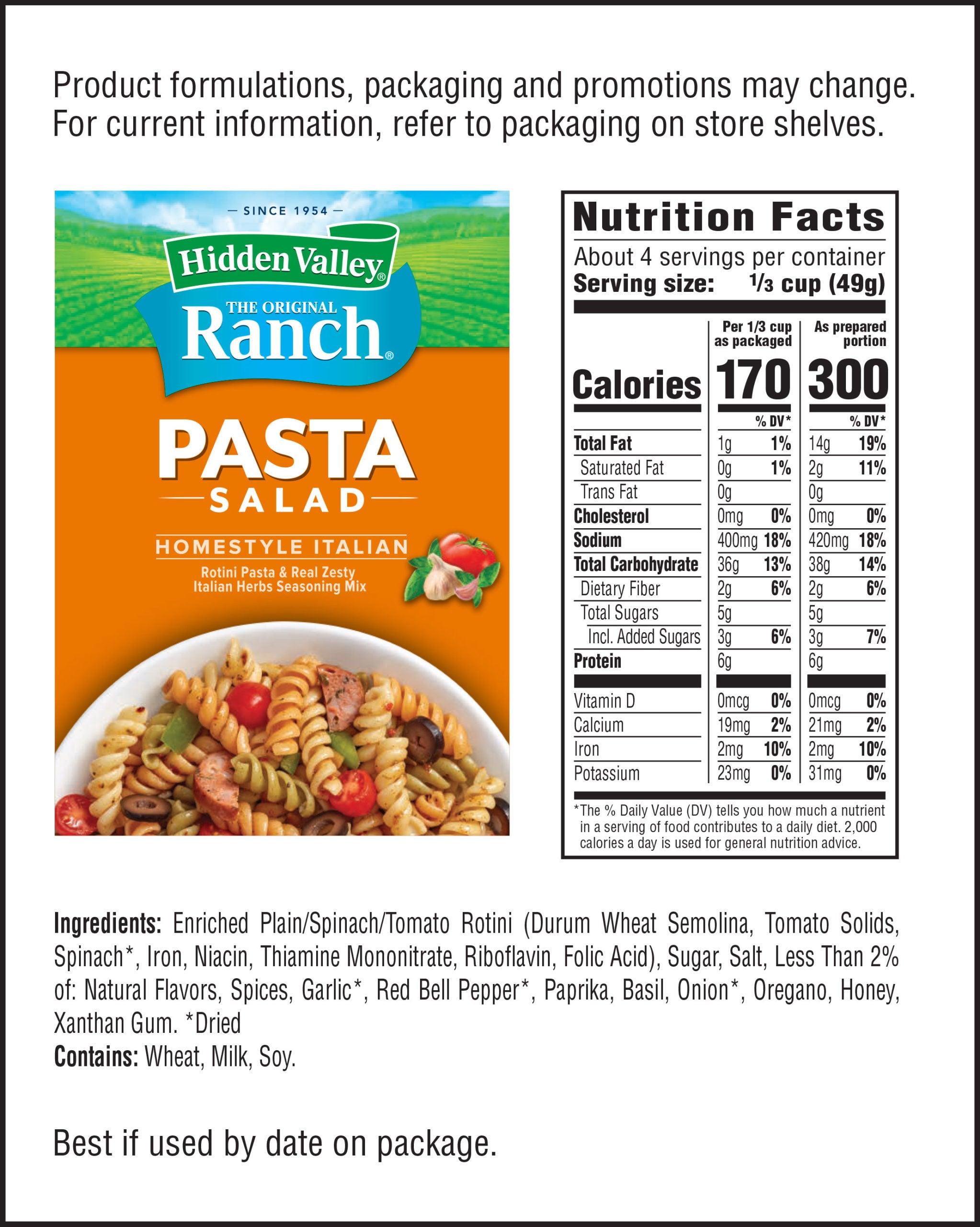 Hidden Valley® Homestyle Italian Pasta Salad nutritional facts
