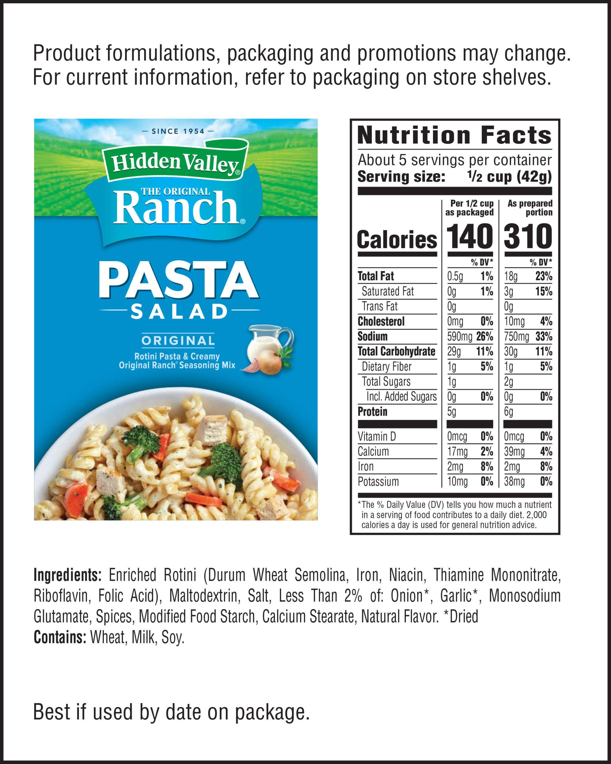 Hidden Valley® Original Ranch® Pasta Salad nutritional facts