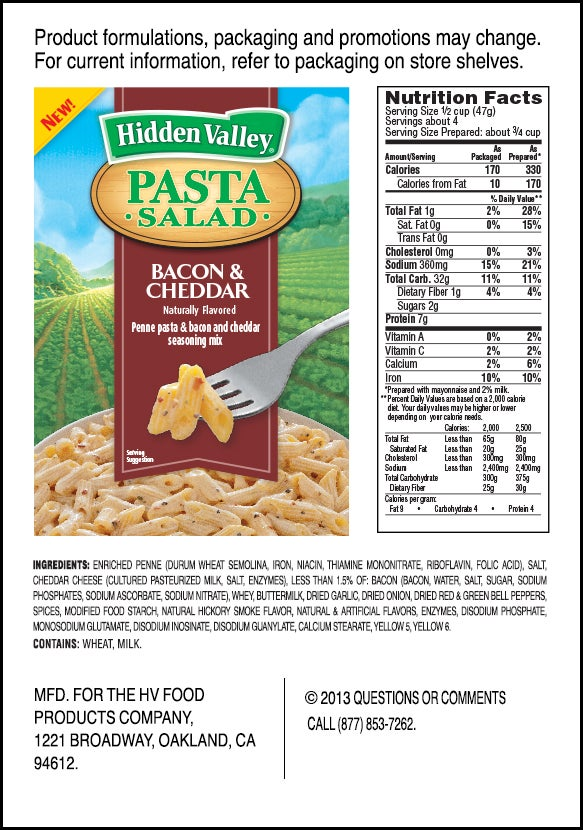 Hidden Valley<sup>&reg;</sup> Bacon &amp; Cheddar Pasta Salad nutritional facts