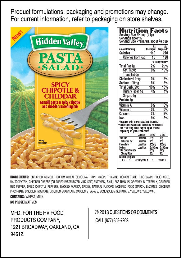 Hidden Valley<sup>&reg;</sup> Spicy Chipotle &amp; Cheddar Pasta Salad nutritional facts