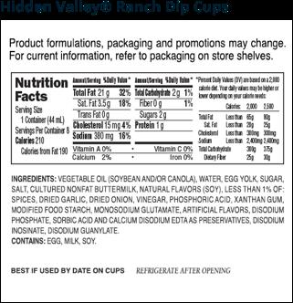 Hidden Valley® Ranch Dip Cups nutritional facts