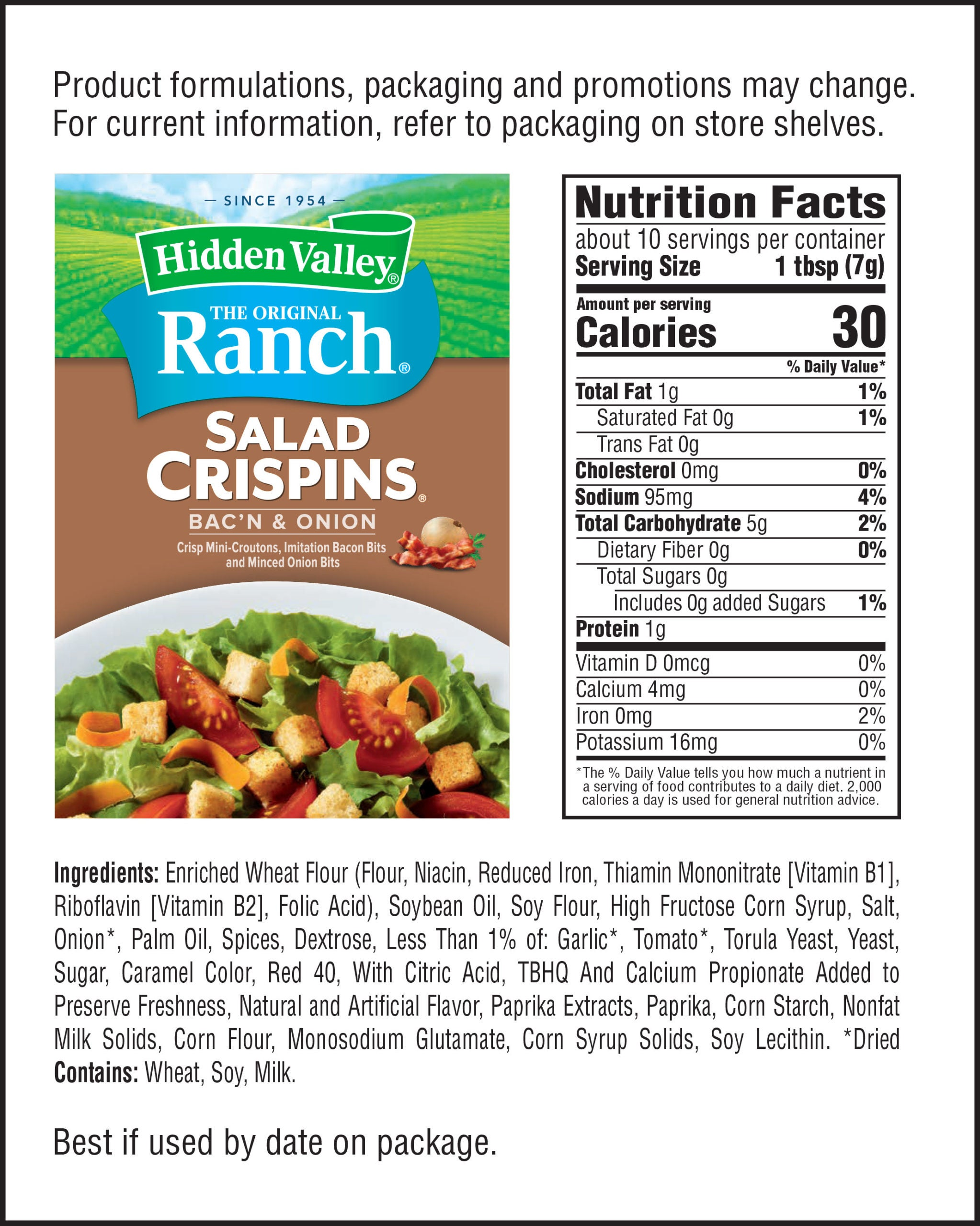 Bac'n & Onion Salad Crispins® nutritional facts
