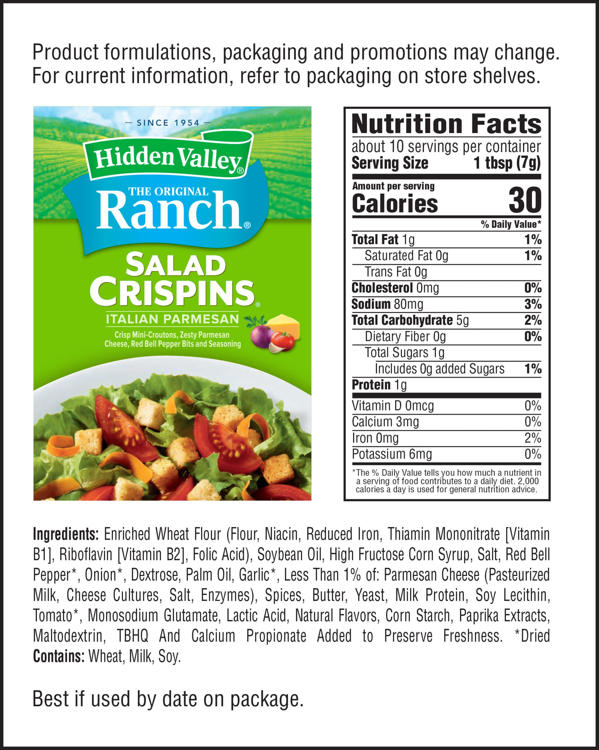 Italian Parmesan Salad Crispins® nutritional facts