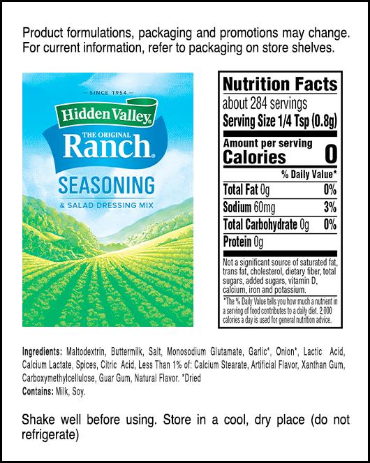 Hidden Valley® Original Ranch® Seasoning & Salad Dressing Mix Shaker nutritional facts