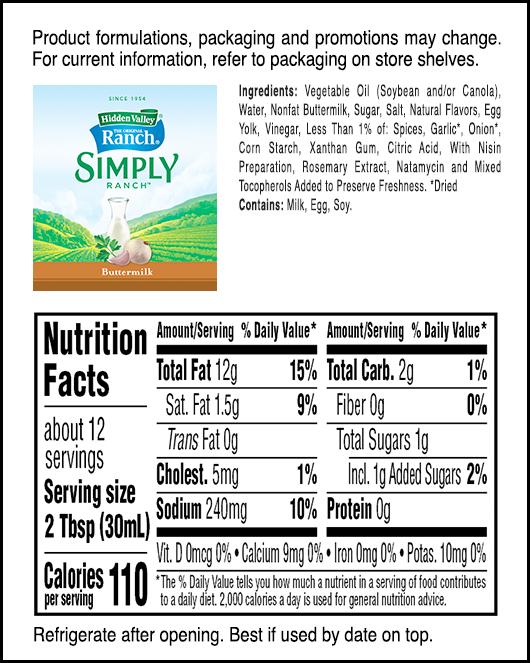Hidden Valley® Simply Ranch Buttermilk nutritional facts