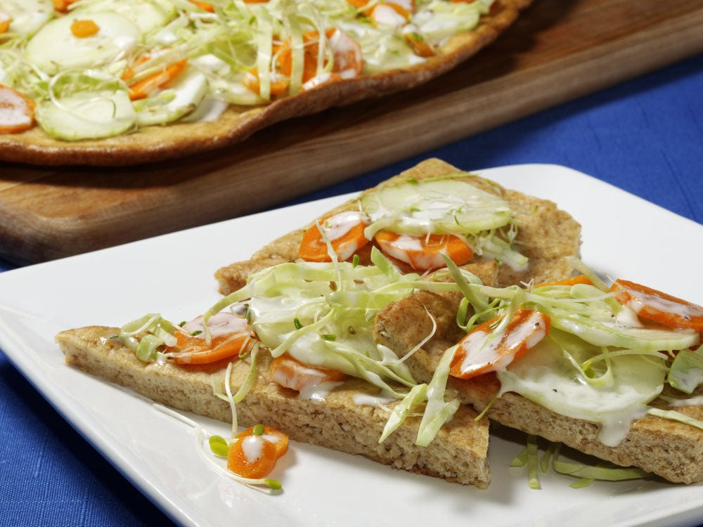 Naan Indian Flatbread With a Crunchy Vegetable Salad Topping Recipe ...