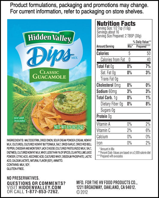 Hidden Valley<sup>&reg;</sup> Classic Guacamole nutritional facts