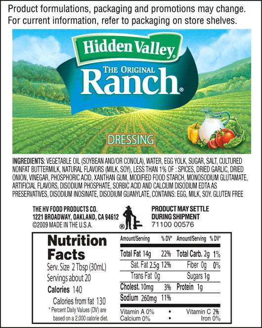 The Original Ranch® nutritional facts