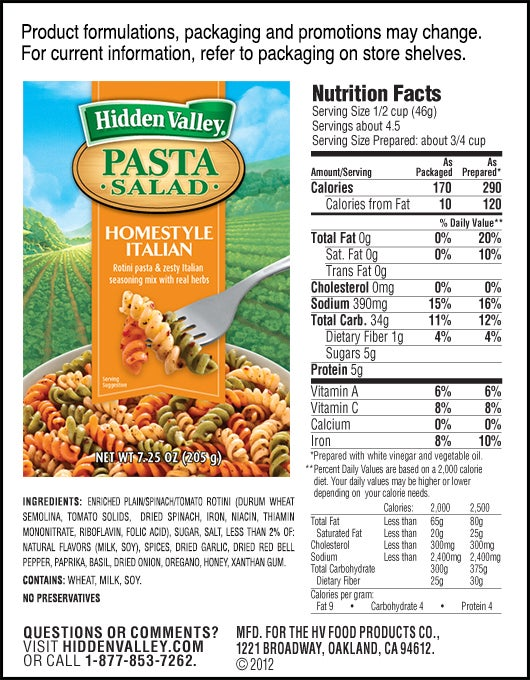 Hidden Valley<sup>&reg;</sup> Homestyle Italian Pasta Salad nutritional facts
