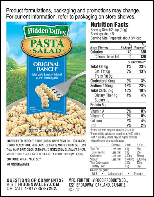 Hidden Valley<sup>&reg;</sup> Original Ranch<sup>&reg;</sup> Pasta Salad nutritional facts