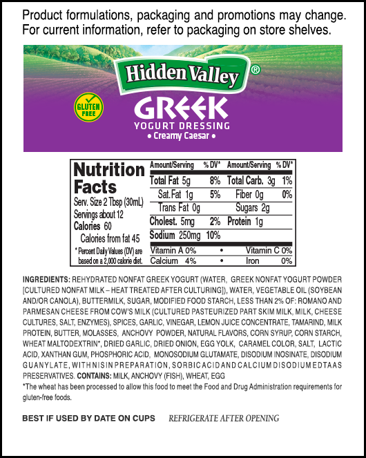 Hidden Valley<sup>®</sup> Greek Yogurt Creamy Caesar nutritional facts
