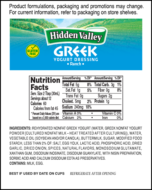 Hidden Valley<sup>®</sup> Greek Yogurt Ranch nutritional facts