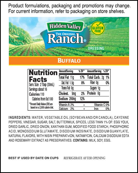 Hidden Valley® Buffalo Ranch® nutritional facts