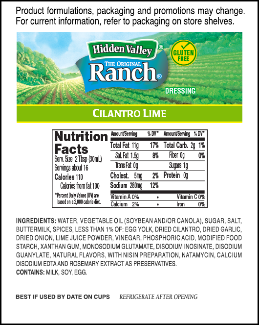 Hidden Valley® Cilantro Lime Ranch® nutritional facts