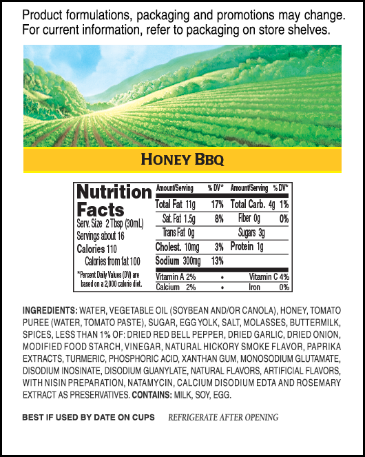 Hidden Valley<sup>&reg;</sup> Honey BBQ Ranch<sup>&reg;</sup> nutritional facts