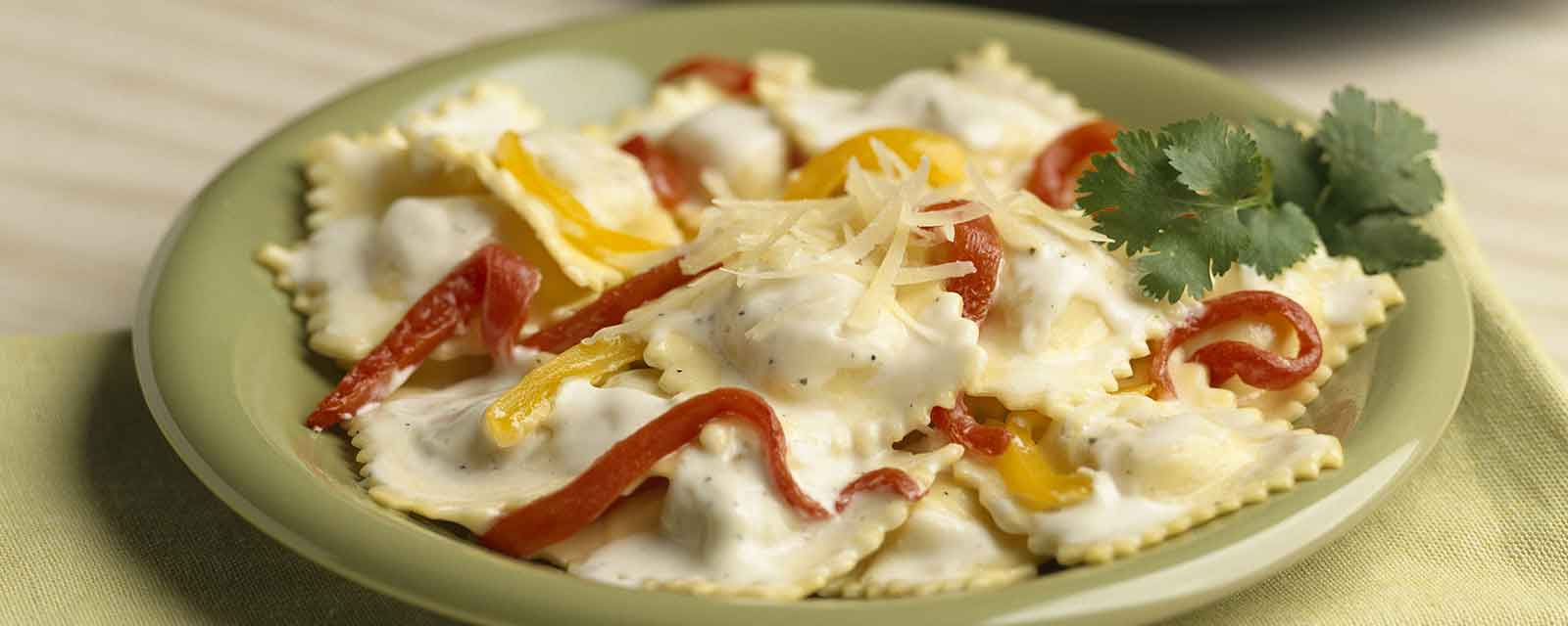 Creamy Ravioli with Roasted Peppers