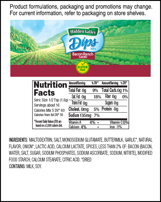 Hidden Valley® Bacon Ranch Flavored Dips Mix nutritional facts