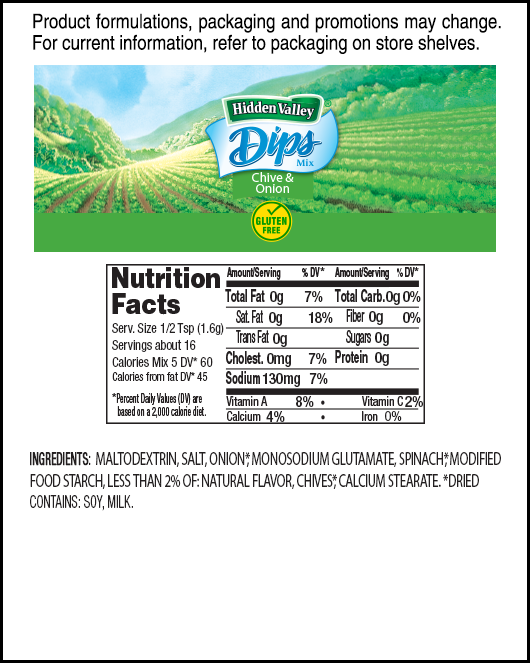 Hidden Valley® Chive & Onion Dips Mix nutritional facts