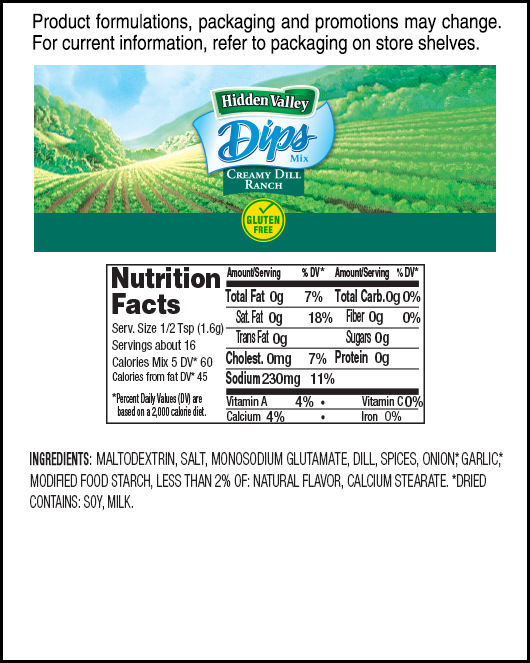 Hidden Valley® Creamy Dill Dips Mix nutritional facts