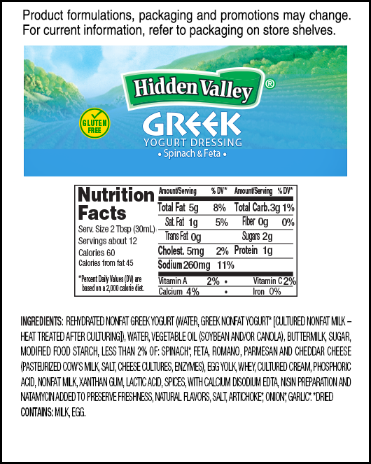 Hidden Valley<sup>®</sup> Greek Yogurt Spinach &#038; Feta nutritional facts