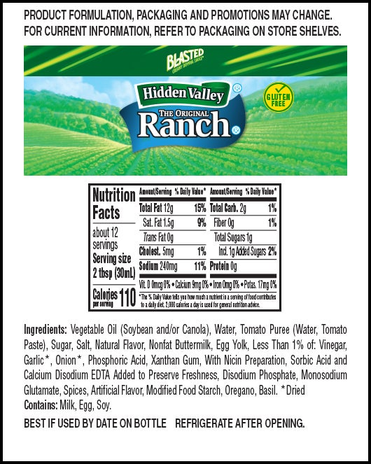 Ranch-Dipped Pizza Flavor™ nutritional facts
