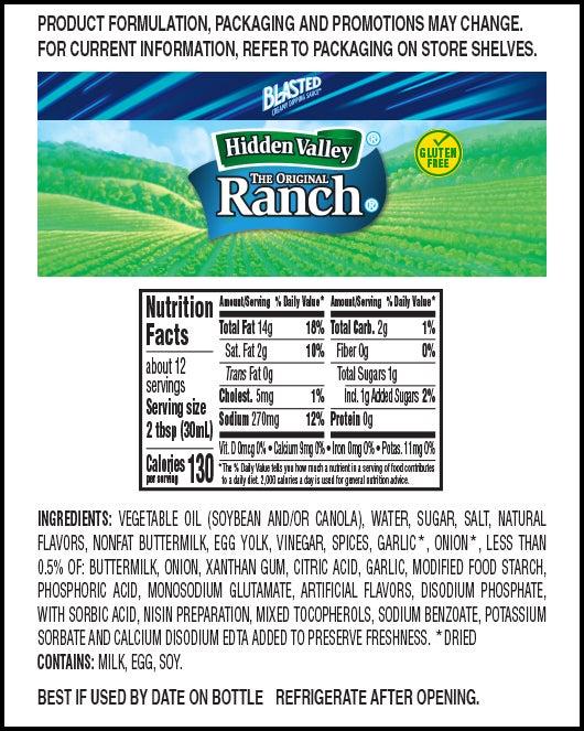 Zestier Ranch™ nutritional facts
