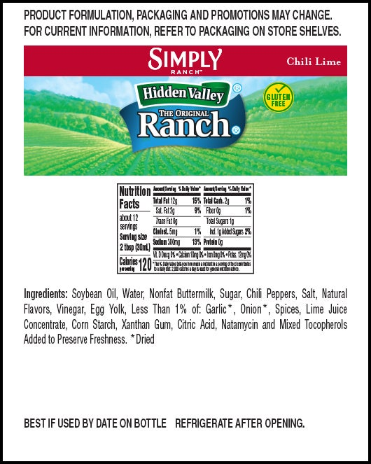 Hidden Valley® Simply Ranch Chili Lime nutritional facts
