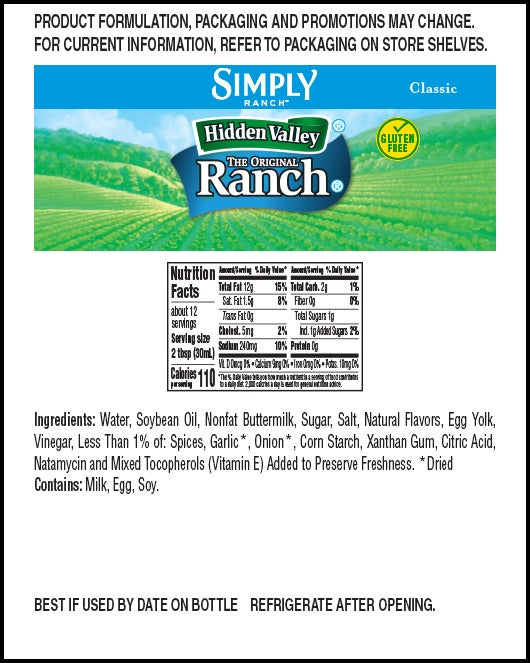 Hidden Valley® Simply Ranch Classic Ranch nutritional facts