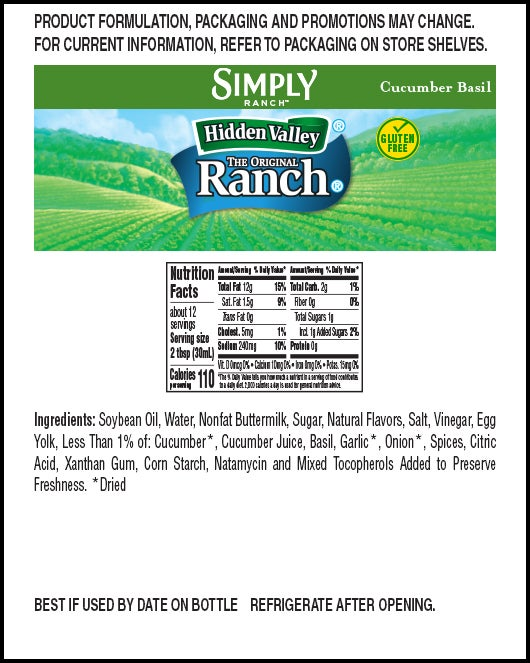 Hidden Valley® Simply Ranch Cucumber Basil nutritional facts