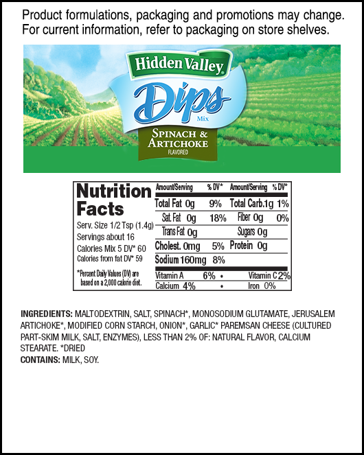 Hidden Valley® Spinach & Artichoke Dips Mix nutritional facts