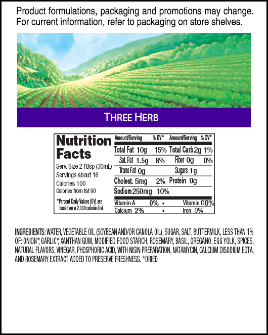 Hidden Valley<sup>®</sup> Three Herb Ranch nutritional facts