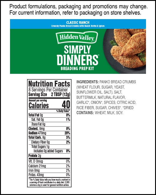 Simply Dinners™ Breading Prep Kit Classic Ranch nutritional facts