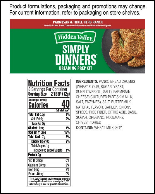 Simply Dinners™ Breading Prep Kit Parmesan & Three Herb Ranch nutritional facts