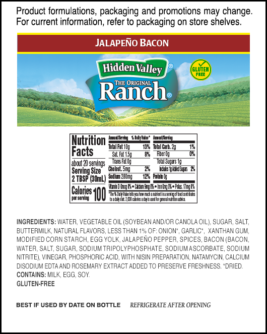 Jalapeño Bacon Ranch Easy Squeeze Bottle nutritional facts