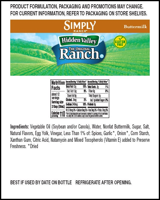 Hidden Valley® Simply Ranch Buttermilk nutritional facts