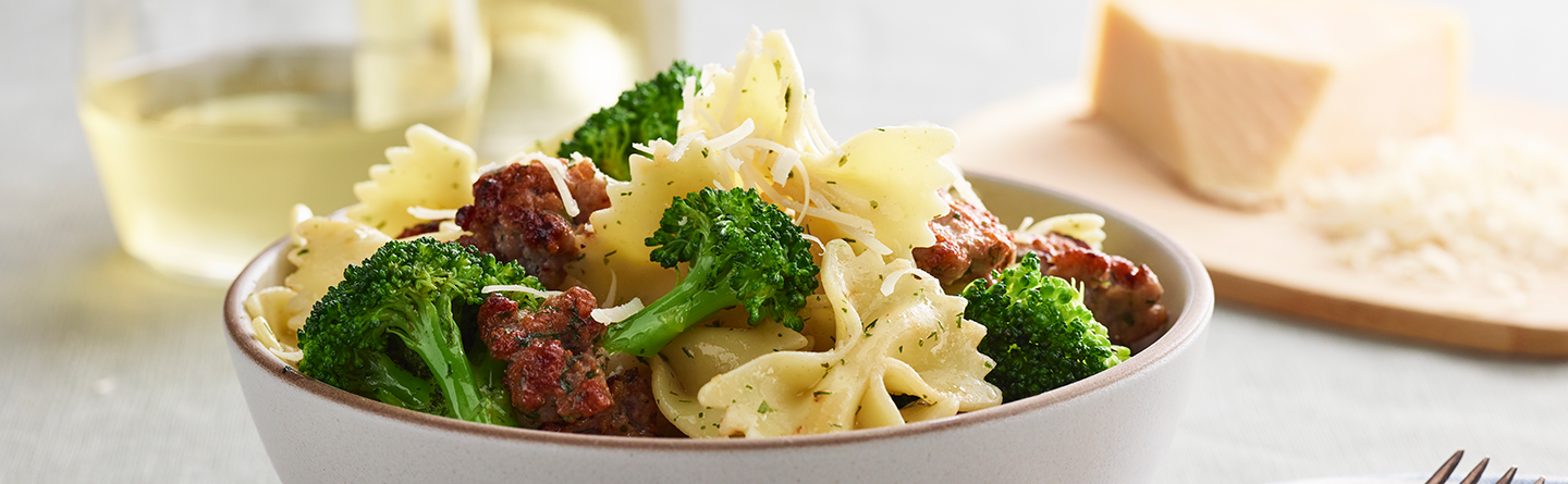 Bowties with Broccoli, Sausage and Ranch Oil