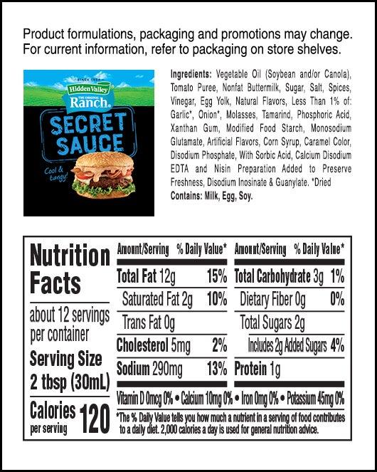 Original Ranch Secret Sauce nutritional facts