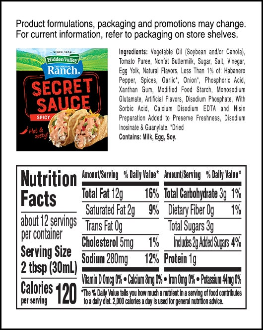Spicy Secret Sauce nutritional facts