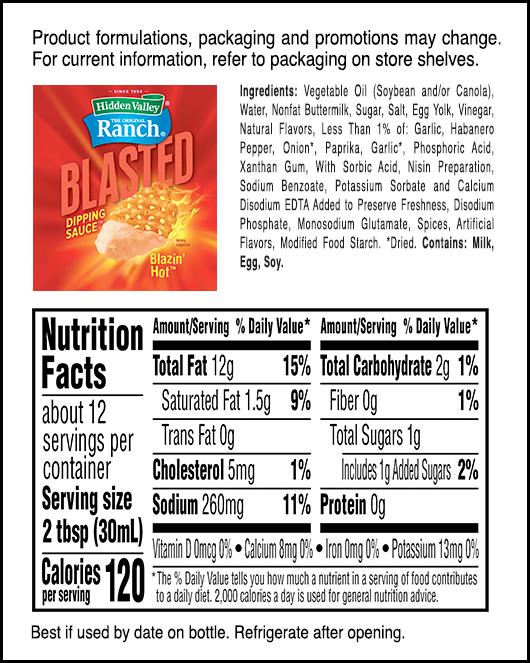 Blazin' Hot™ nutritional facts