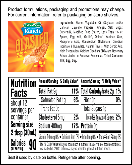 Hidden Valley® Blasted Bold Buffalo™ Dipping Sauce nutritional facts
