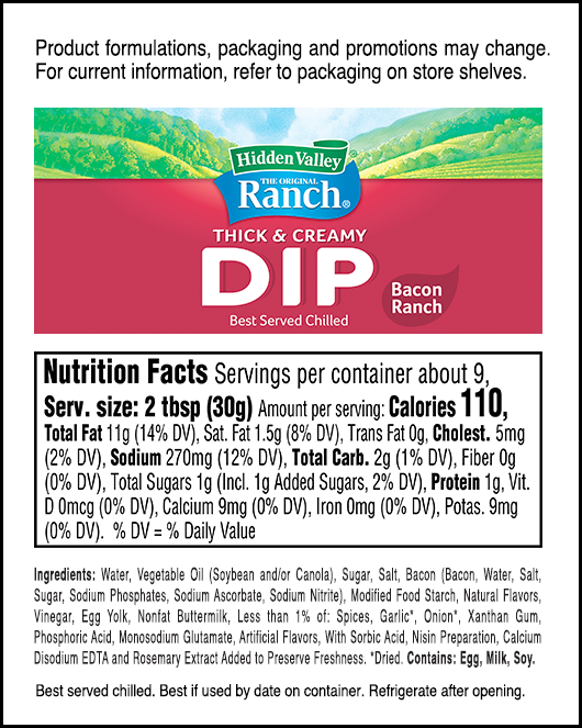 Bacon Ranch nutritional facts