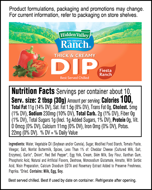Fiesta Ranch nutritional facts
