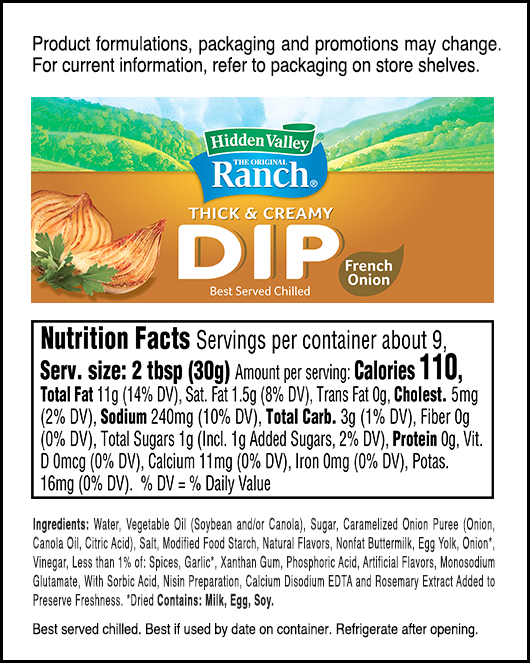 Hidden Valley® French Onion Thick & Creamy Dip nutritional facts