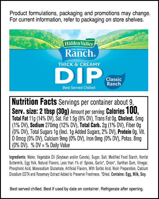 Classic Ranch nutritional facts