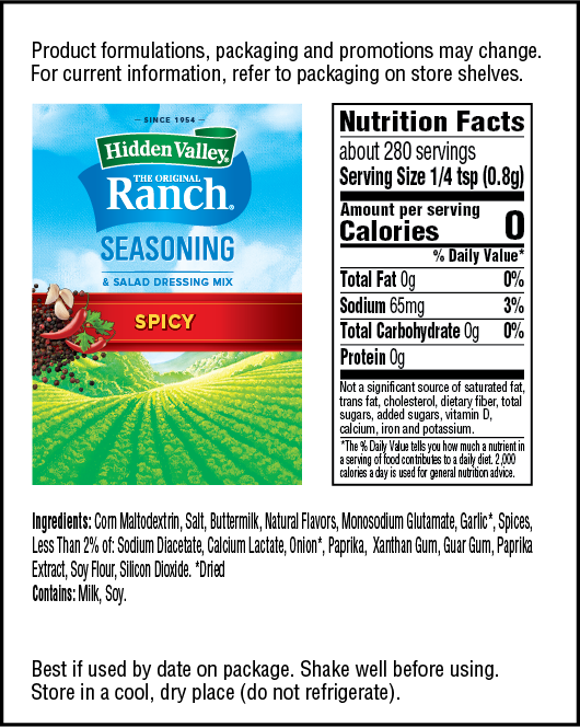 Hidden Valley® Spicy Seasoning Dip & Salad Dressing Mix Shaker nutritional facts