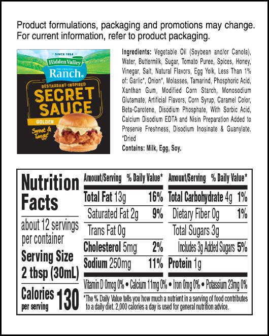 Hidden Valley® Golden Secret Sauce nutritional facts