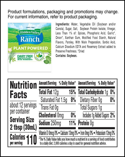 Hidden Valley® Original Ranch® Plant Powered Topping & Dressing nutritional facts