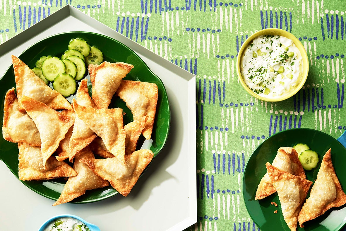 Greek Kofta Wontons with Ranch Tzatziki Sauce
