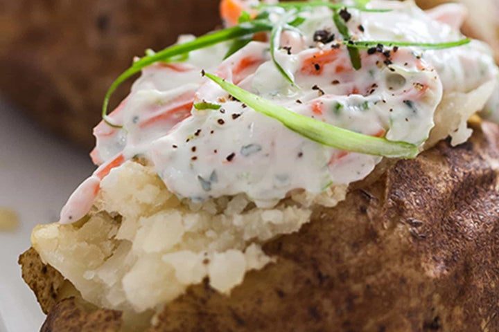 Baked Potatoes with a Ranch Carrot Potato Topping